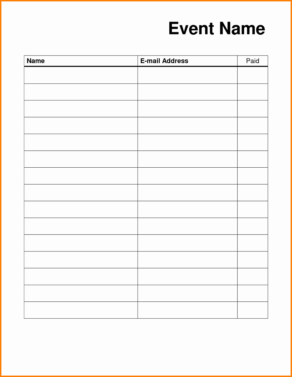 Blank Sign In Sheet Unique Blank Sign Up Sheet Printable