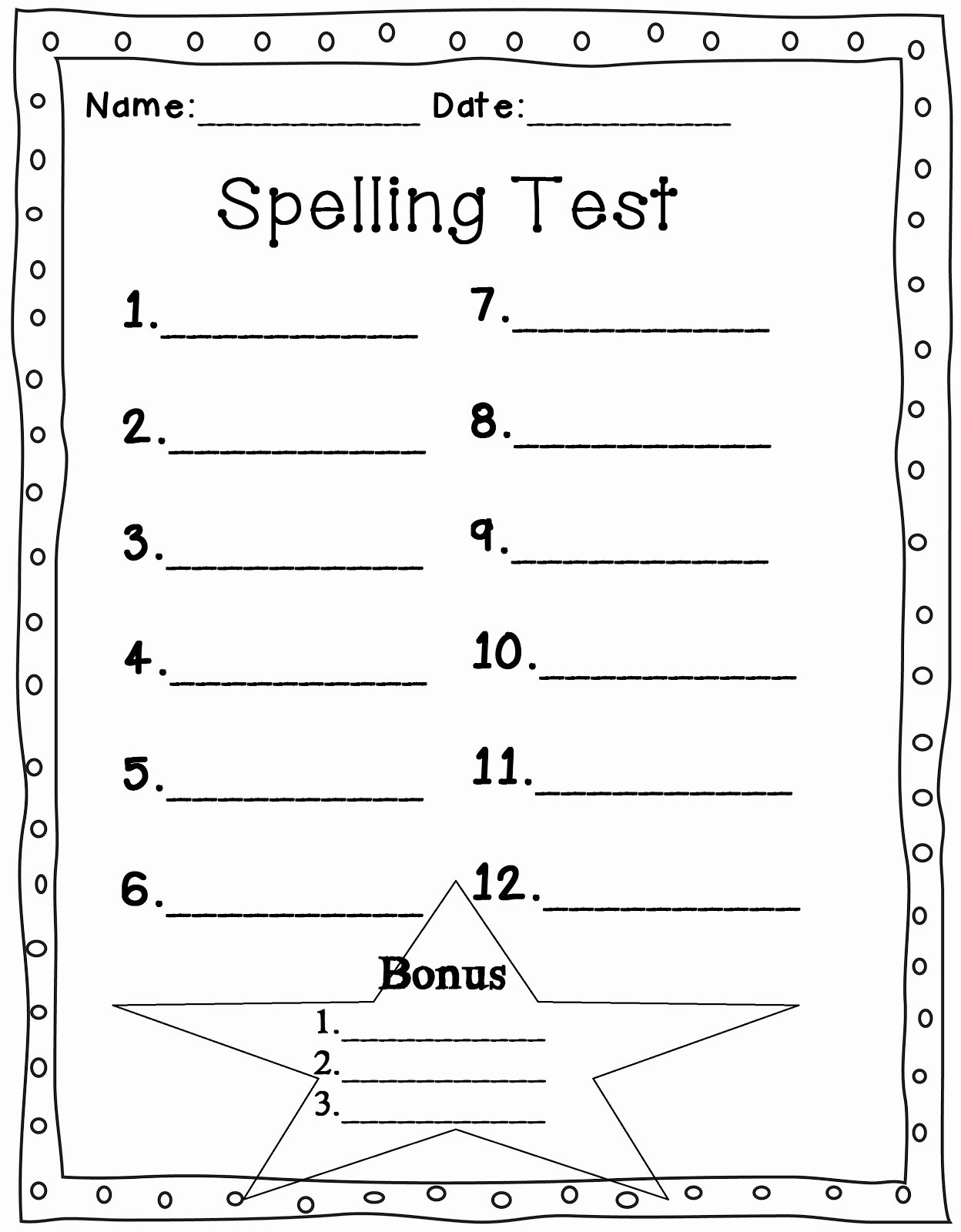 Blank Spelling Practice Worksheets Awesome Spelling Test Template