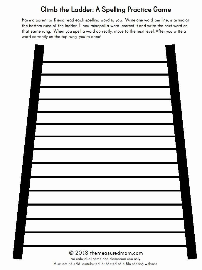 Blank Spelling Practice Worksheets Elegant Climb the Ladder A Printable Spelling Game for Any Word
