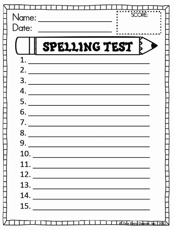 Blank Spelling Practice Worksheets Inspirational Free Printable Spelling Test Template