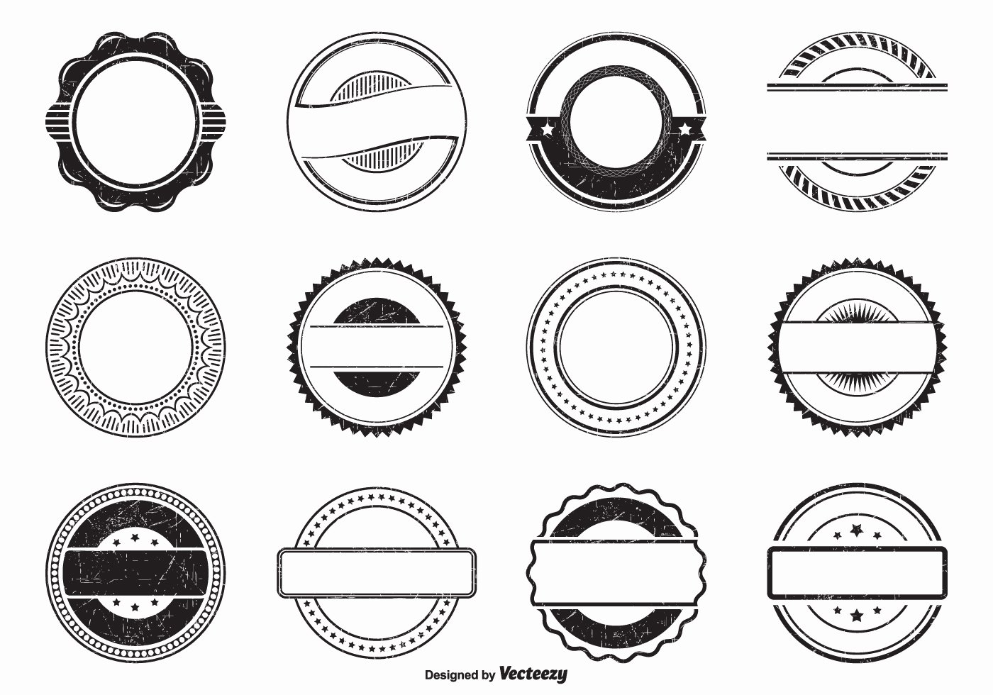 Blank Vintage Logo Template Luxury Black Empty Grunge Vector Rubber Stamps Download Free