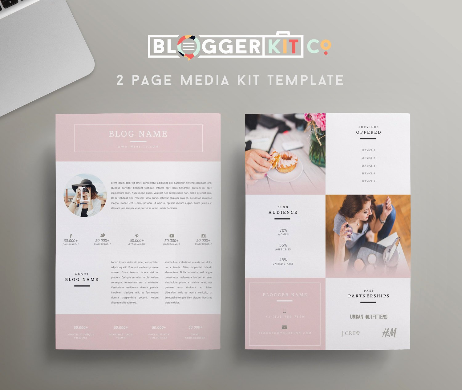 Blogger Media Kit Template Elegant Beauty Blogger Pink Media Kit Template