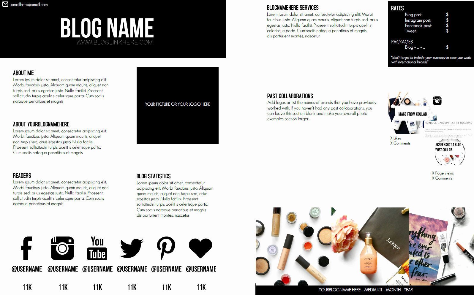 Blogger Media Kit Template Fresh Katina Lindaa 2 Page Blogger Media Kit Template