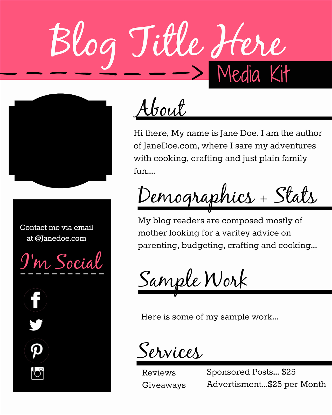 Blogger Media Kit Template Inspirational How to Design A Free Media Kit for Your Blog Premade