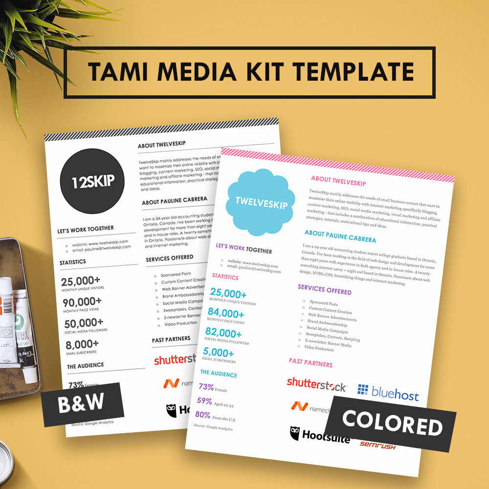 Blogger Media Kit Template Luxury Tami Media Kit