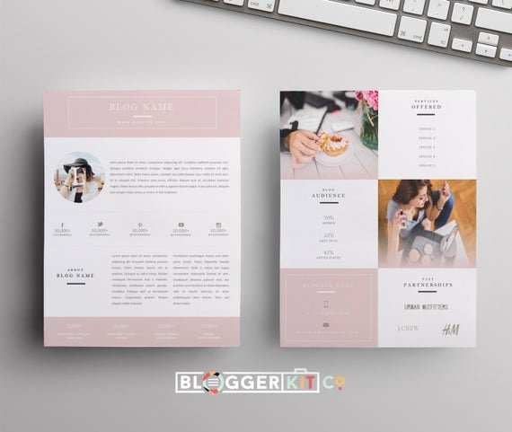 Blogger Media Kit Template New Influencer Media Kit Template Blog Media Kit Press Kit
