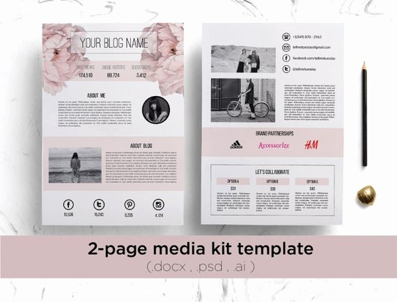 Blogger Media Kit Template Unique 2 Page Media Kit Template Floral Background Elegant Blog