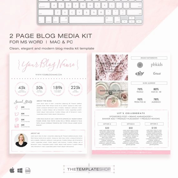 Blogger Media Kit Template Unique Media Kit Template 2 Page Blog Media Kit Press Kit
