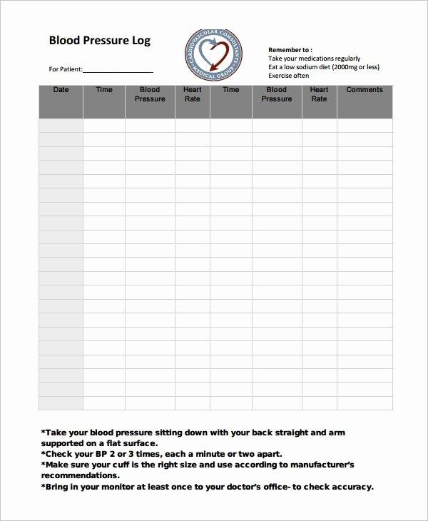 Blood Pressure Log for Patients Best Of Blood Pressure Log Template – 10 Free Word Excel Pdf