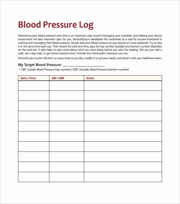 Blood Pressure Log for Patients Elegant Blood Pressure Log Template – 10 Free Word Excel Pdf