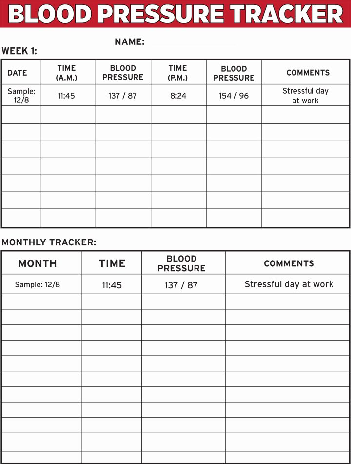 Blood Pressure Log for Patients Fresh Blood Pressure Tracker E Sheet
