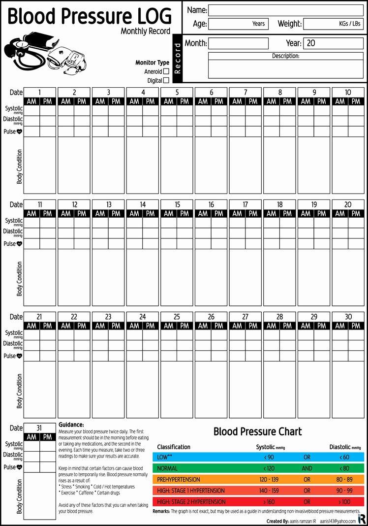 Blood Pressure Record Chart Luxury Blood Pressure Log Monthly Record Pdf Printable by Aanis