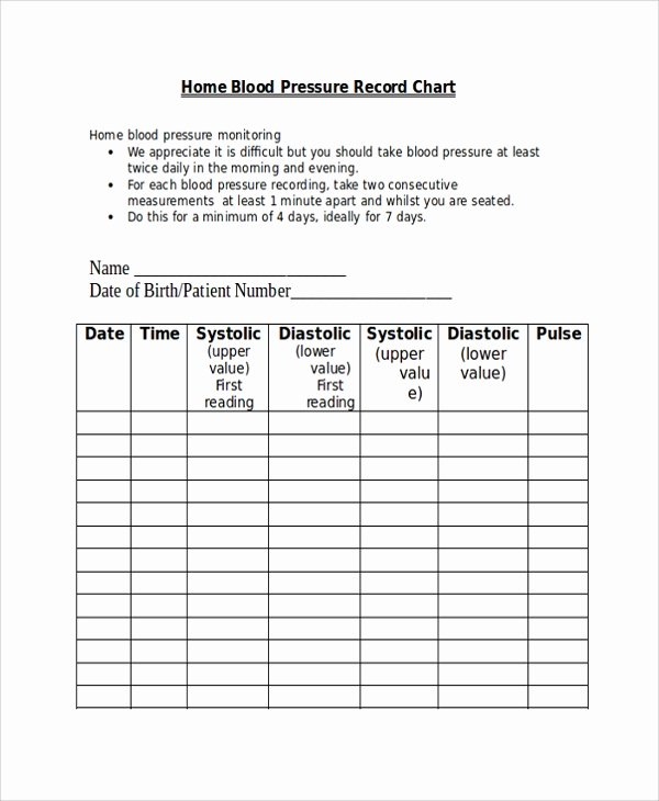 Blood Pressure Record Chart Unique Sample Blood Pressure Chart Template 9 Free Documents