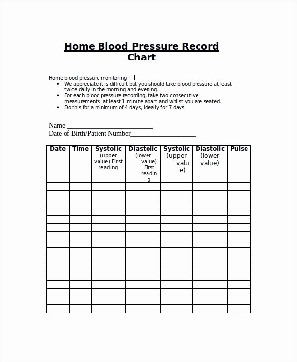 Blood Pressure Record Sheet Unique Sample Blood Pressure Chart 9 Examples In Pdf Word