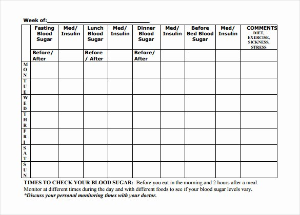 Blood Sugar Tracker Template Unique 16 Log Templates Free Word Excel Pdf