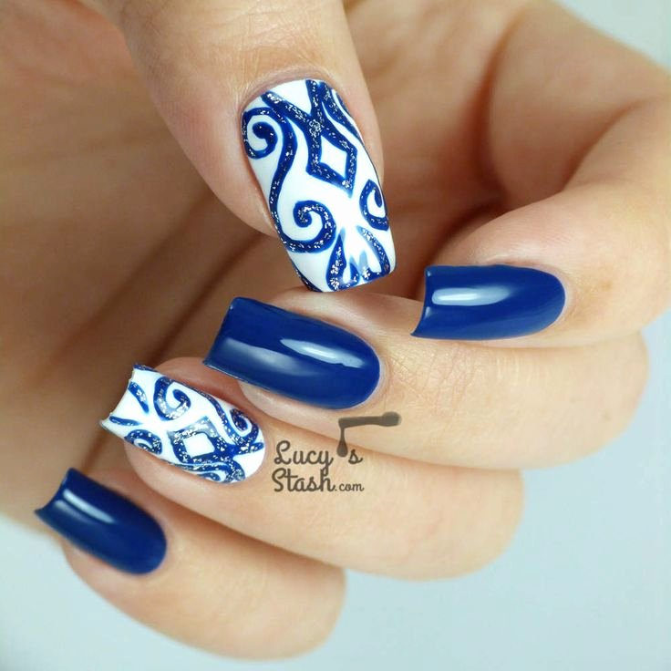 Blue Nail Polish Designs Beautiful Just Pretty Blue and White Design Nail Ideas