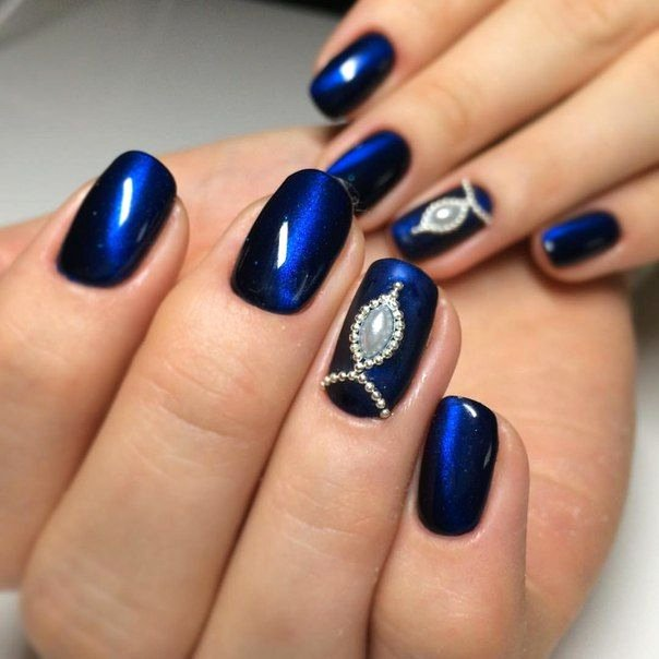 Blue Nail Polish Designs Best Of the 25 Best Dark Blue Nails Ideas On Pinterest