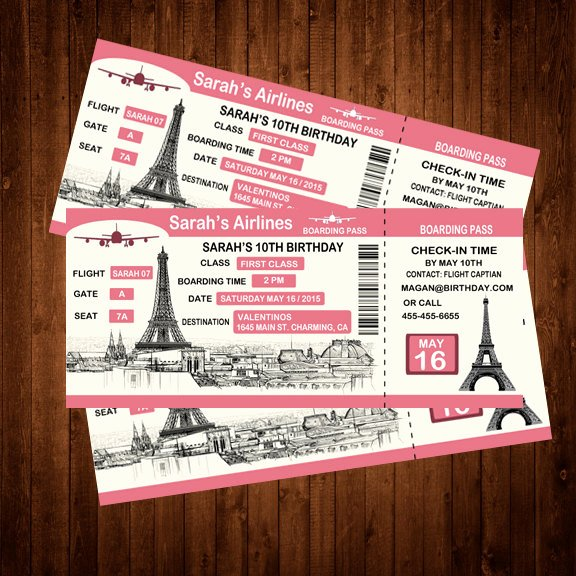 custom boarding pass birthday invitation
