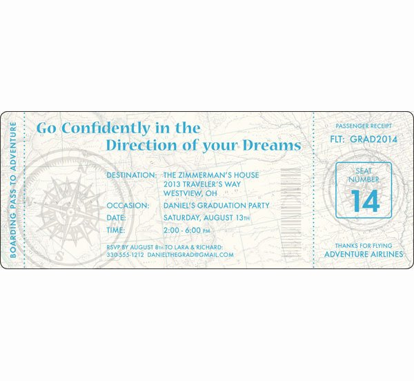 Boarding Pass Birthday Invitations Awesome Graduation Travel Boarding Pass Invitation