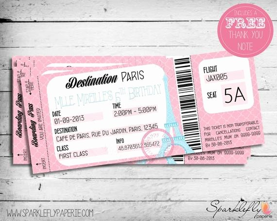 Boarding Pass Birthday Invitations Awesome Items Similar to Boarding Pass Ticket to Paris Birthday