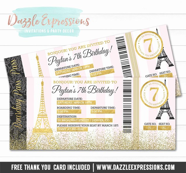 Boarding Pass Birthday Invitations Awesome Printable Pink and Gold Paris Boarding Pass Invitation