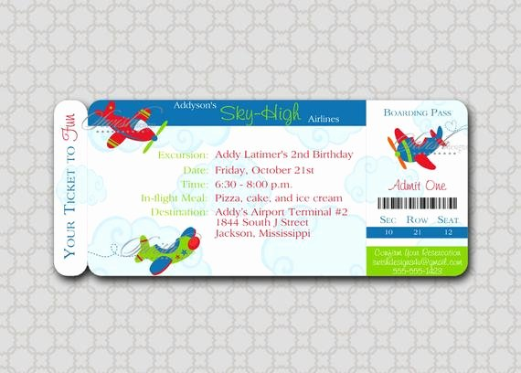 Boarding Pass Birthday Invitations Beautiful Airplane Birthday Invitation Plane Boarding Pass Ticket