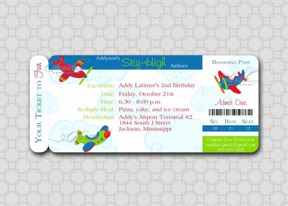 Boarding Pass Birthday Invitations Beautiful Airplane Birthday Invitation Plane Boarding Pass Ticket