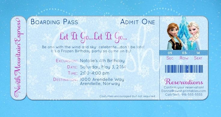 Boarding Pass Birthday Invitations Beautiful Frozen Boarding Pass Birthday Invitation original