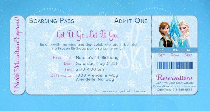Boarding Pass Birthday Invitations Beautiful Frozen Boarding Pass Birthday Invitation original