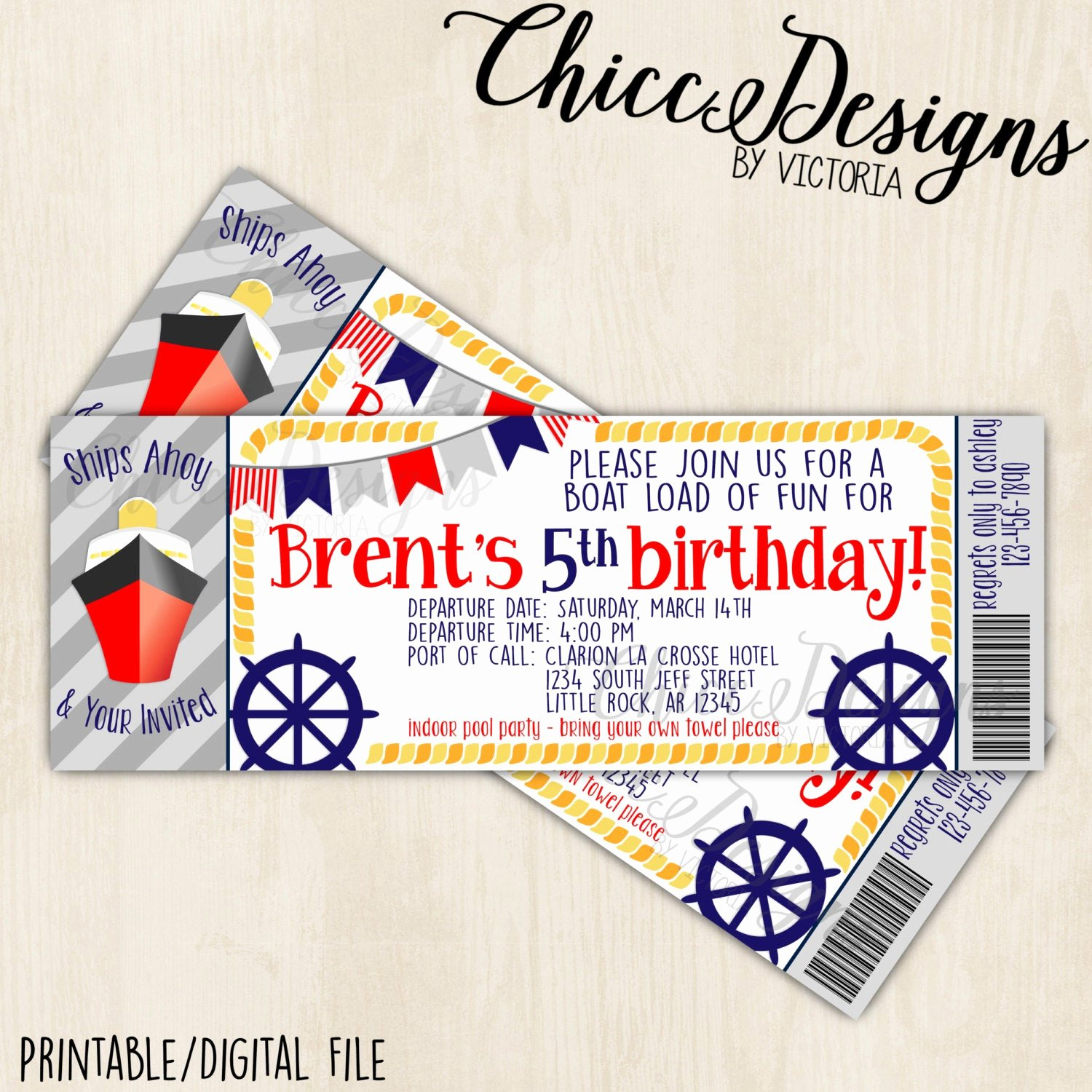 Boarding Pass Birthday Invitations Beautiful Ship Boarding Pass Birthday Invitation Ticket Design 2 5x7