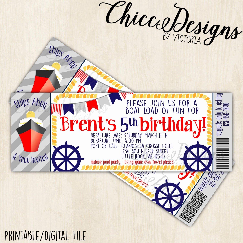 Boarding Pass Birthday Invitations Beautiful Ship Boarding Pass Birthday Invitation Ticket Design 2 5x7