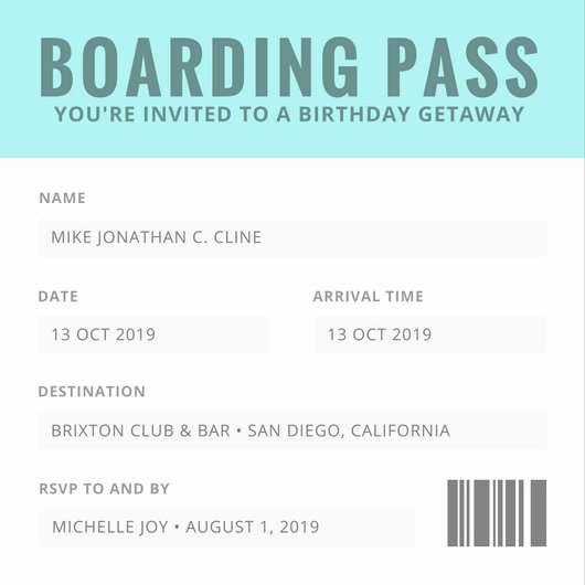 Boarding Pass Birthday Invitations Best Of Birthday Invitation Templates Canva