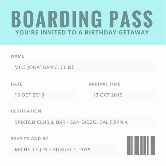 Boarding Pass Birthday Invitations Best Of Birthday Invitation Templates Canva
