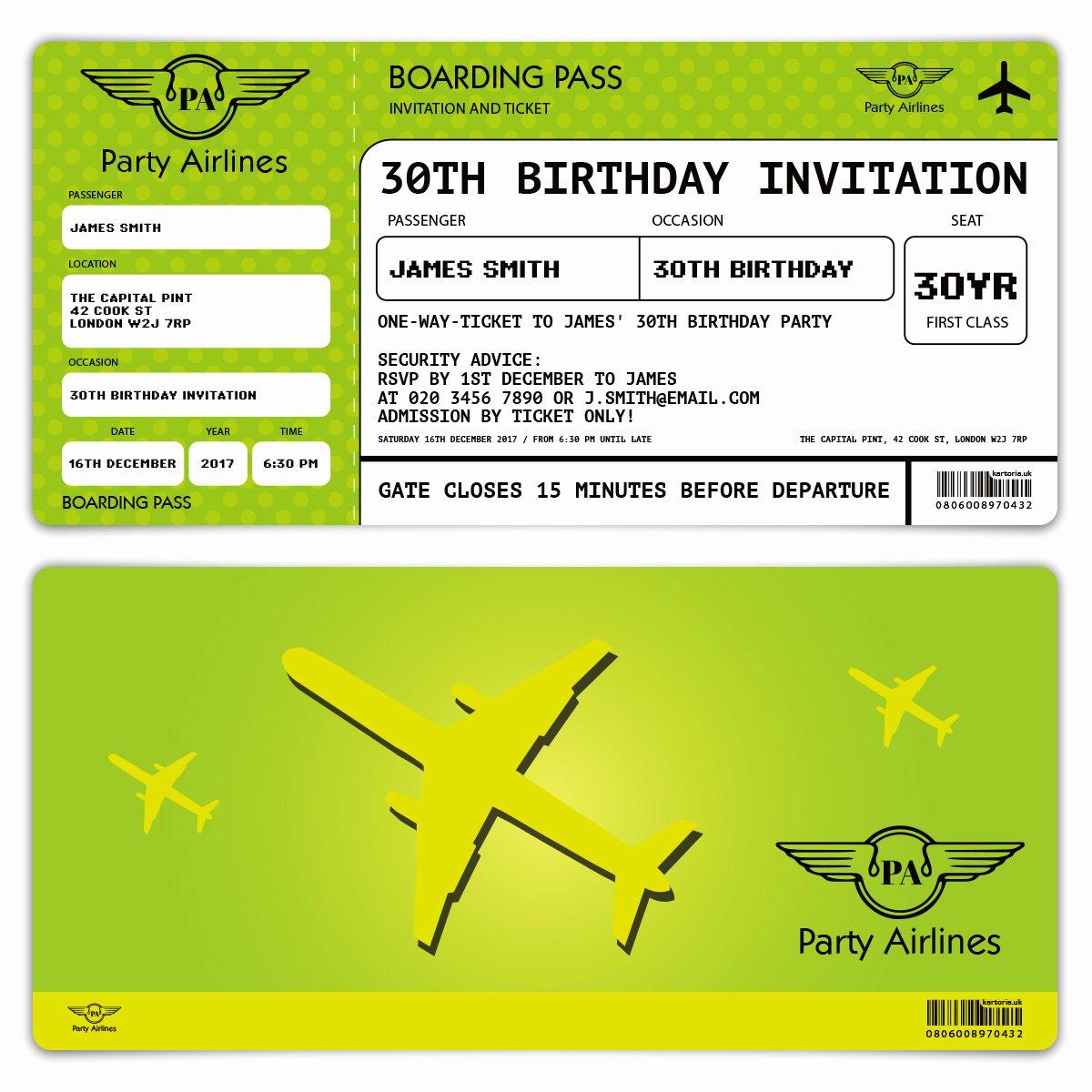 Boarding Pass Birthday Invitations Best Of Invitation Cards Invite Birthday Party Green Boarding