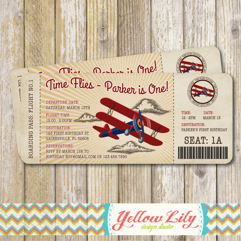 Boarding Pass Birthday Invitations Best Of Vintage Airplane Boarding Pass Birthday Invitation Vintage