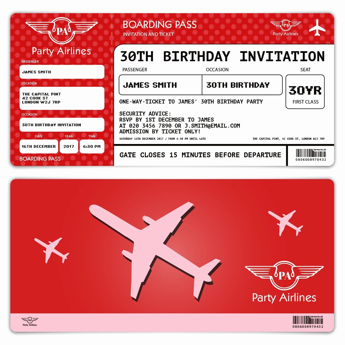 Boarding Pass Birthday Invitations Elegant Birthday Invitation Ticket Red Boarding Pass