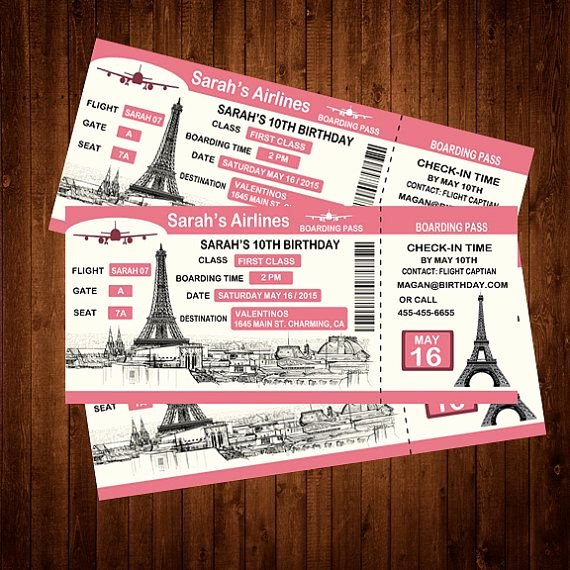 Boarding Pass Birthday Invitations Inspirational 25 Best Ideas About Paris Invitations On Pinterest