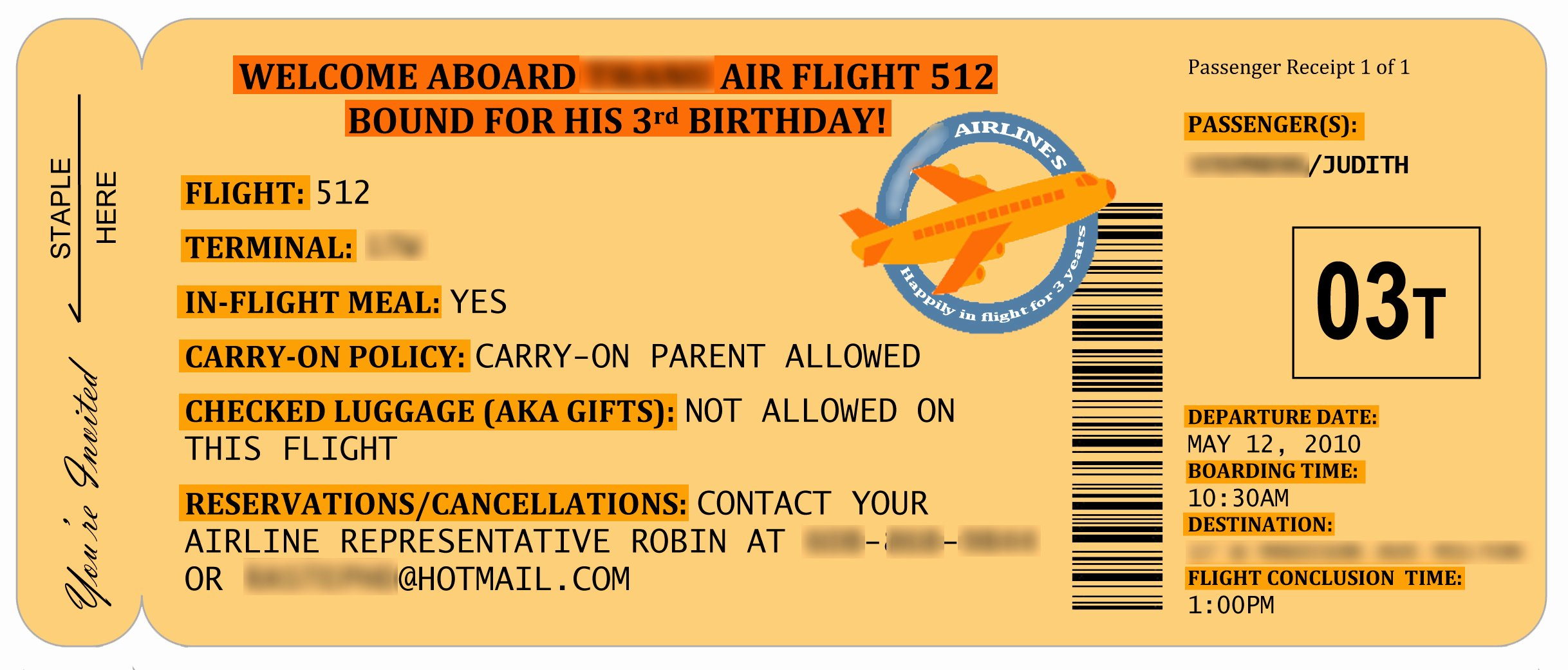 Boarding Pass Birthday Invitations Lovely An Airplane Party for Tea at 3