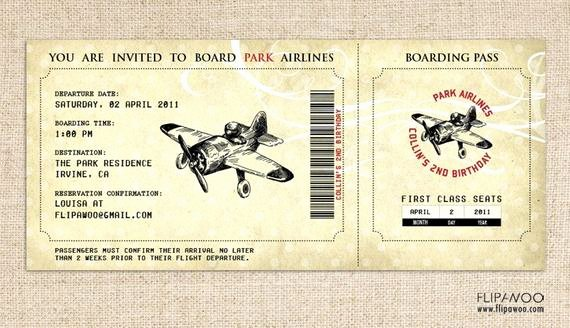 Boarding Pass Birthday Invitations Lovely Vintage Airplane Birthday Invitation Airplane Boarding Pass