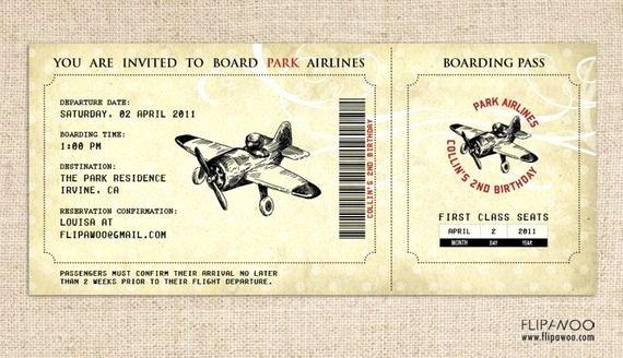 Boarding Pass Birthday Invitations Lovely Vintage Airplane Birthday Invitation Airplane Boarding Pass