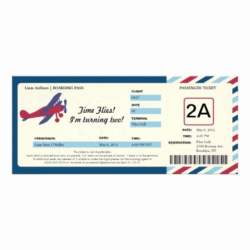 "Boarding Pass Birthday Invitations Lovely Vintage Plane Birthday Boarding Pass Ticket 4"" X 9 25"
