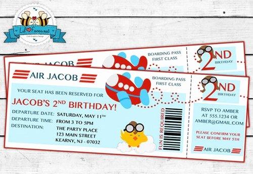 Boarding Pass Birthday Invitations New Airplane Birthday Party Boarding Pass Invitation