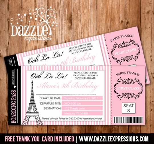 Boarding Pass Birthday Invitations New Printable Paris Boarding Pass Invitation Kids Ticket