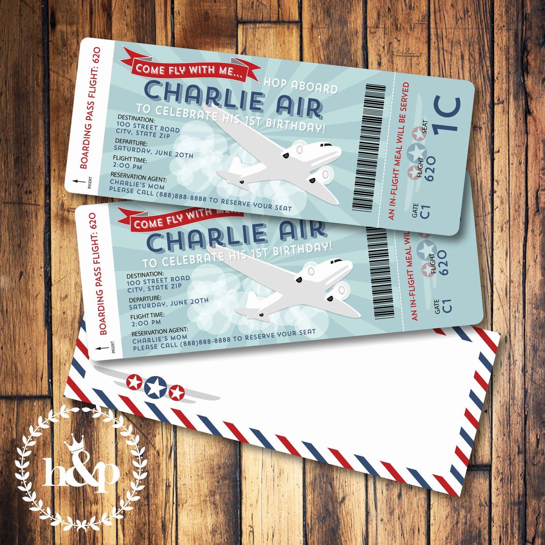 Boarding Pass Birthday Invitations Unique Airplane Birthday Invitation Boarding Pass and by