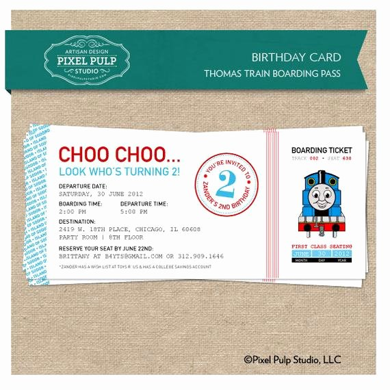 Boarding Pass Birthday Invitations Unique Birthday Invitation Thomas Train Boarding Pass by
