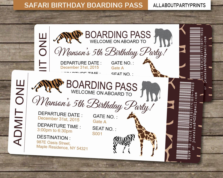 Boarding Pass Birthday Invitations Unique Safari Birthday Boarding Pass Invitation Invitation Printable
