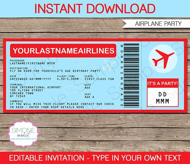 Boarding Pass Template Free Awesome Airplane Ticket Invitations Template