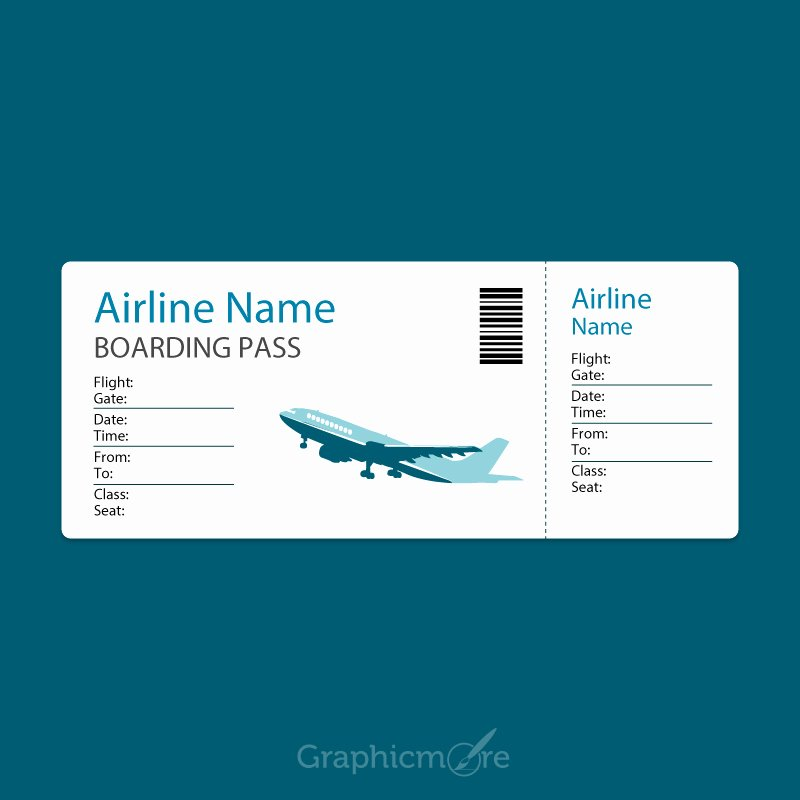 Boarding Pass Template Free Beautiful Airline Blue Boarding Pass Template Design Free Vector
