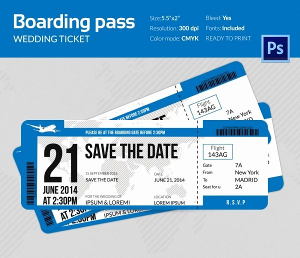 Boarding Pass Template Free Beautiful Boarding Pass Invitation Template 36 Free Psd format