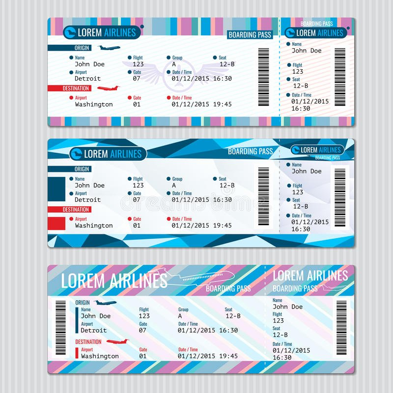 Boarding Pass Template Free Best Of Airline Boarding Pass Tickets Vector Template Stock Vector